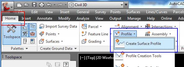 یا از این طریق Create Surface Profile را انتخاب کنید