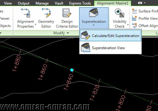 از ریبون روی Superelevation و سپس Calculate/Edit Superelevation کلیک کنید.