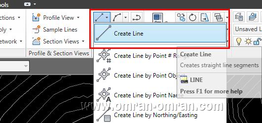 از طریق ریبون و Create Line یک لاین ساده ترسیم کنید.