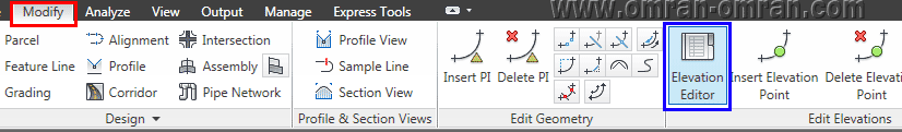 از طریق تب Modify روی Elevation Editor (کادر آبی) کلیک کنید.