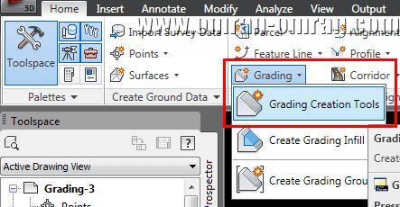 از تب Home گزینه Grading Creation Tools را پیدا کرده و انتخاب کنید.