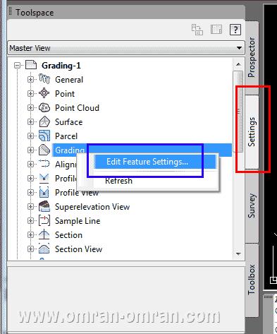 از قسمت setting در toolspace تنظیمات گریدینگ را بررسی خواهیم کرد
