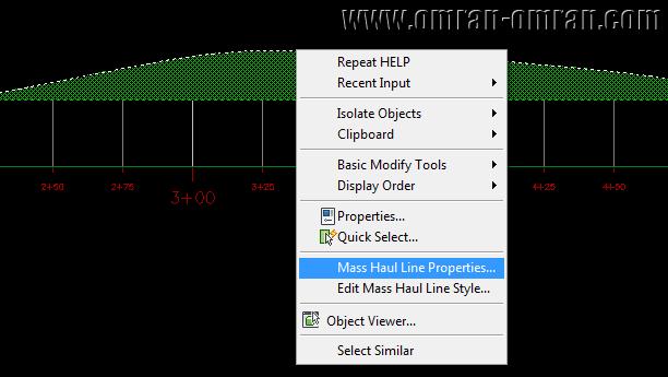روی منحنی بروکنر کلیک راست کنید و Mass Haul Line Properties را انتخاب کنید.