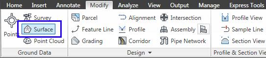 به تب Modify رفته و روی Surface کلیک کنید تا تب Surface در ریبون نمایان شود.
