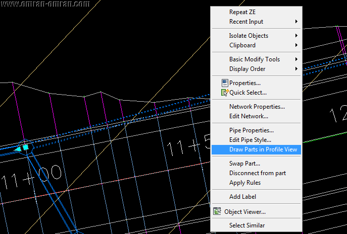 روی Draw Parts in Profile View کلیک کنید