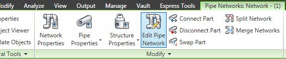 روی Edit Pipe Networks کلیک کنید