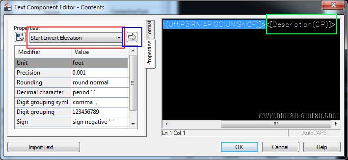 محتویات قبلی را پاک کنید و Start Invert Elevation را وارد کنید.