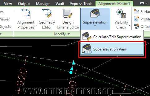 مجدداً روی Superelevation و اینبار روی Superelevation View کلیک کنید.