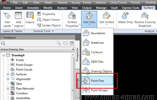 حال در ریبون روی Add Data و سپس Point Files کلیک کنید.