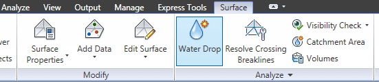در تب Surface روی Water Drop کلیک کنید.