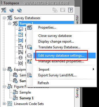 Edit Survey Database settings