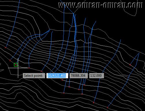 روی هر قسمت از سطح سورفیس کلیک کنید تا مسیر حرکت آب را نمایش دهد.
